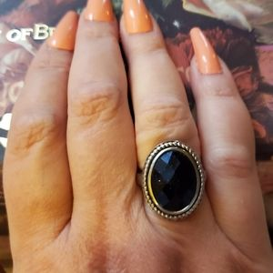 Silver with Oval Sapphire Stone Ring.